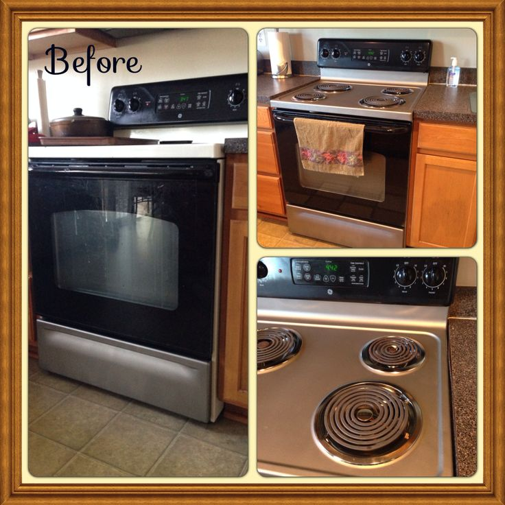 Off White Kitchen Cabinets With Stainless Appliances: Stainless Steel Spray Paint On An Off White Stove Top And
