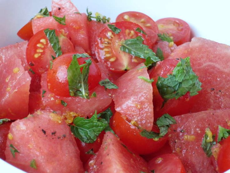 watermelon-tomato-salad-close-up with mint