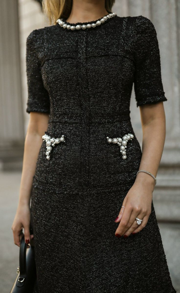 Click For Outfit Details Black Grey Cotton Blend Dress With Tweed And Pearl Details Black Leather Vintage Br Fashion Fashion Dresses Cotton Blends Dress [ 1199 x 736 Pixel ]