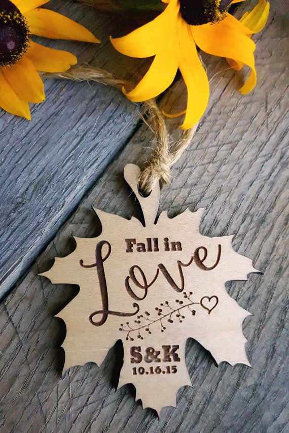 Autumn Fall in Love Leaf Engraved Wedding by WoodenWeddingPuzzles