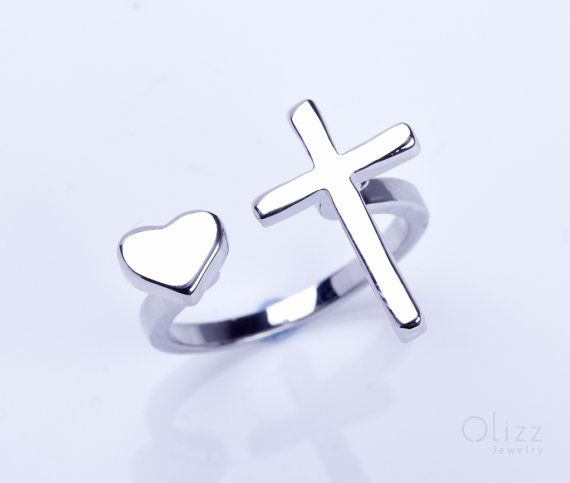Silver cross ring heart ring heart jewelry Sideways Cross