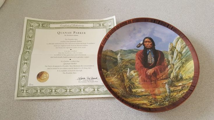 Quanah Parker Hermon Adams American Indian Heritage Foundation Franklin Plate #FranklinMint