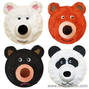 fuzzy bears from paper plates/bowls and tissue or paper towell strips//Animal train craft
