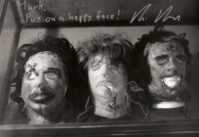 Rare photo of Leatherface's three original masks from Texas Chainsaw Massacre (1974) made by production designer Robert Burns.