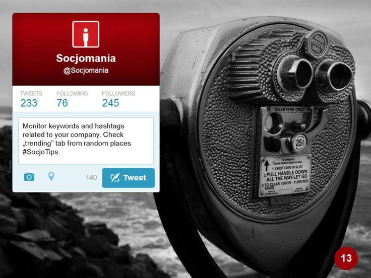 50 Twitter Tips (13). Full presentation: https://www.slideshare.net/Socjomania/the-ultimate-guide-to-twitter-50-useful-tips  #Twitter #TwitterTips #SocialMedia #SocialMediaTips