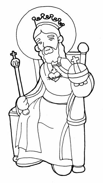Christ The King Catholic Coloring Page CatholicSAM