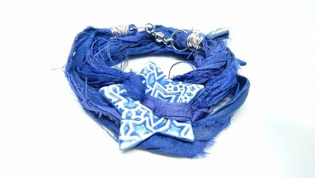 Blue sari silk bracelet with ceramic star button and magnetic clasp £15.00
