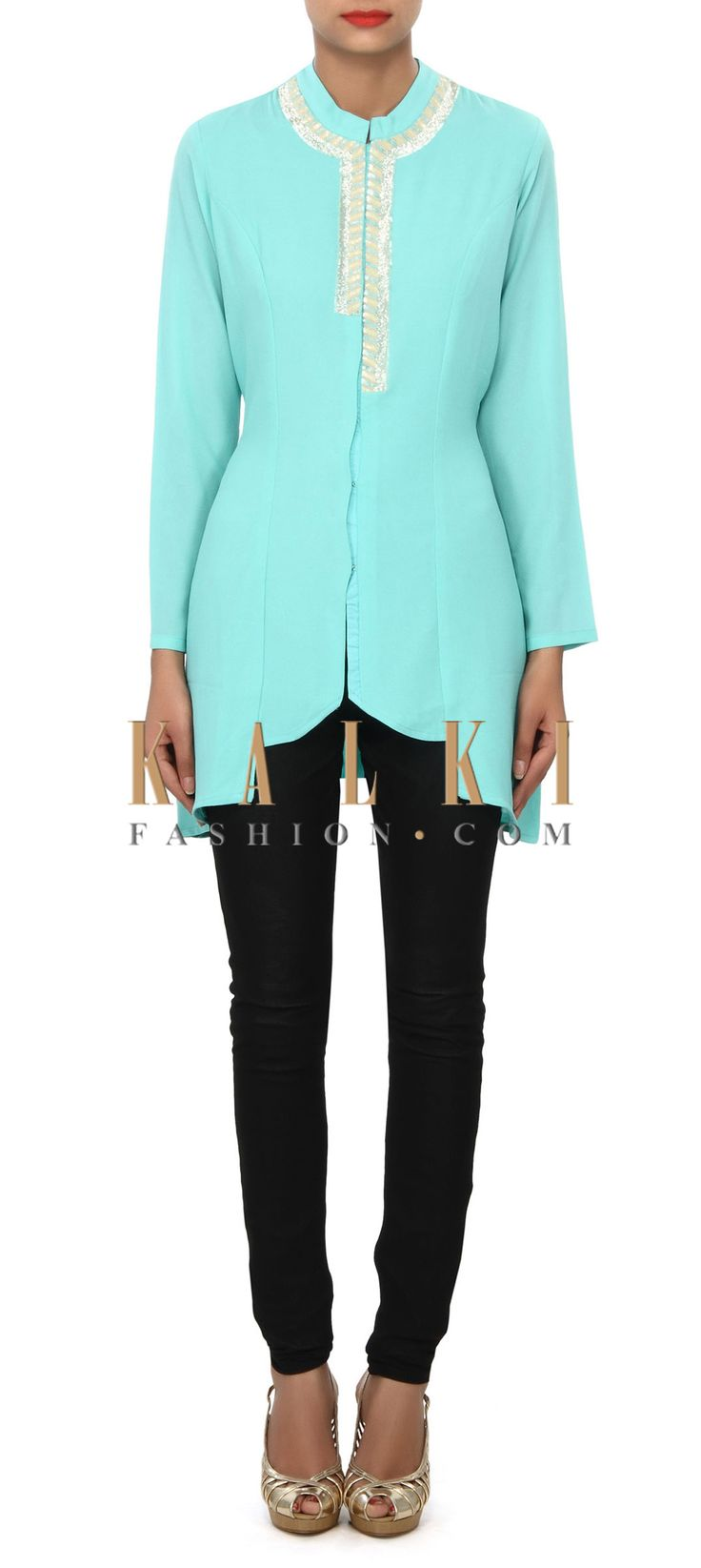 Buy Online from the link below. We ship worldwide (Free Shipping over US$100) Price- $79 Click Anywhere to Tag http://www.kalkifashion.com/mint-blue-kurti-featuring-in-sequin-embroidery-only-on-kalki.html