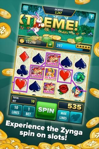 Brand new from the makers of the #1-rated Zynga Poker comes Zynga Slots, a one-of-a-kind video slots game!<br><br>Spin the reels to win coins and dash across a variety of different exciting and magical worlds. Join hot jackpots with your friends, then get lucky and grab the cash before they do!<br><br>Spin up to 40 LINES at a time!<br>    Reach FEVER MODE every time you play for higher payouts!<br>    Earn UPGRADES on your favorite machines for more lines and bets!<br>    Grab FREE COINS…