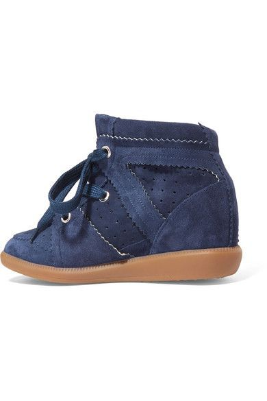 Isabel Marant - étoile Bobby Suede Wedge Sneakers - Navy - FR41
