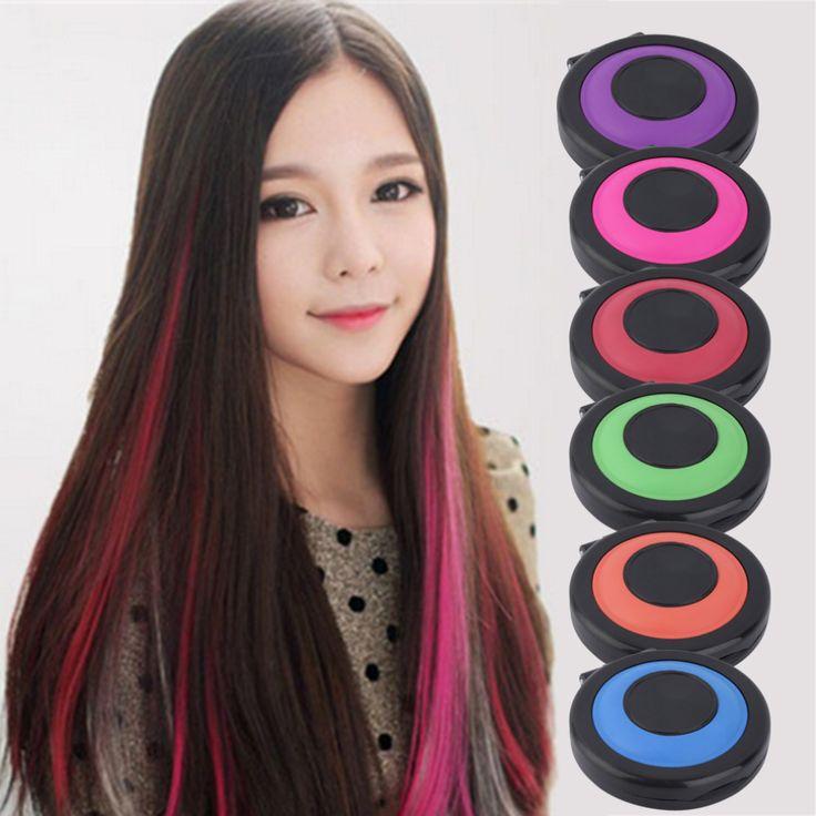Professionelle 6-farben Temporäre Haarfärbemittel Pulver kuchen Styling Haar Chalk Set Weiche Pastelle ungiftig Farbe Buntstifte