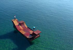 Network A Bob Burnquist built a floating miniramp in the middle of Lake Tahoe
