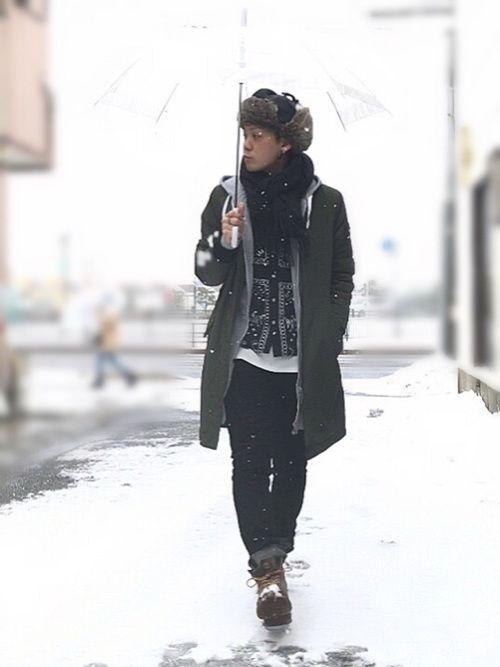 2018/02/02(金)☃️→☁️のコーデ たまにはタイムリーな光景を❗️ 出勤時は雪が降ってたよ