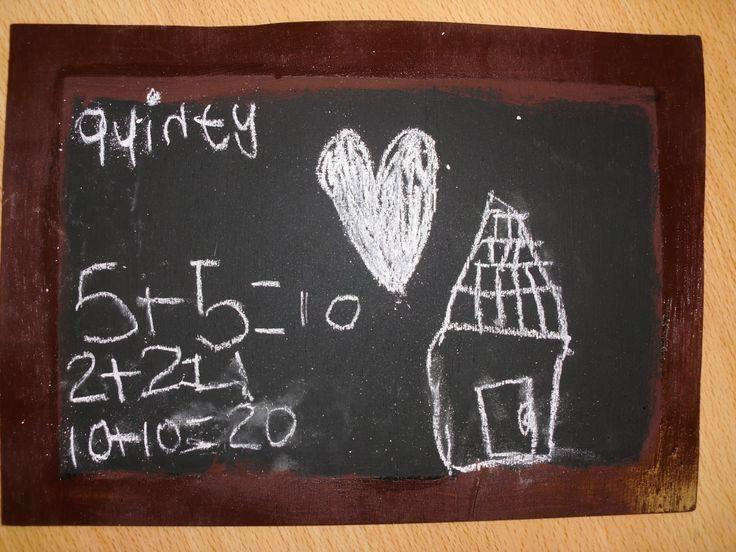 lei maken van hout met schoolbordverf