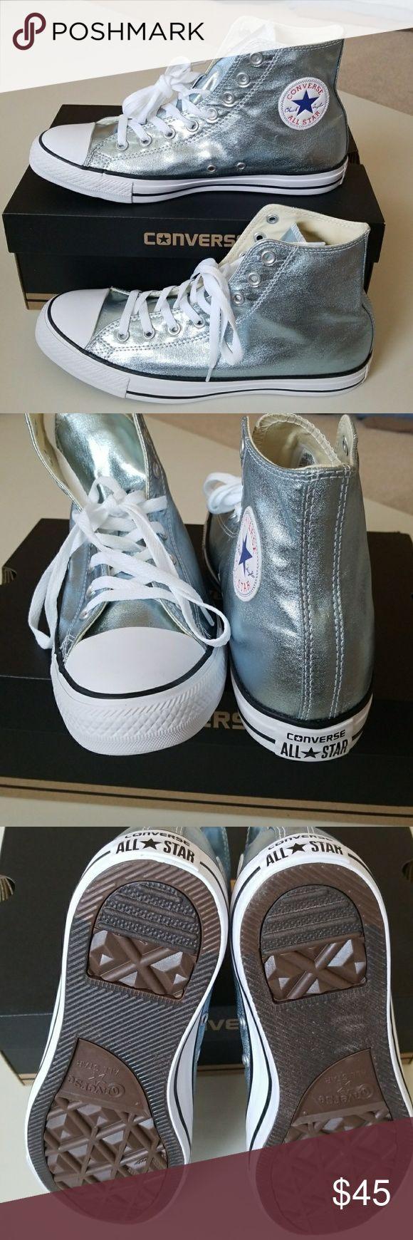 NWT Converse Unisex Super Cool Sneakers New Converse. Unisex.  Metallic light blueish gray color. Super duper cool high tops for those with a little bit of spunk!   Men=7 Women=9 Men=8 Women=10 Men=9 Women=11 Men=10 Women =12 Converse Shoes Sneakers