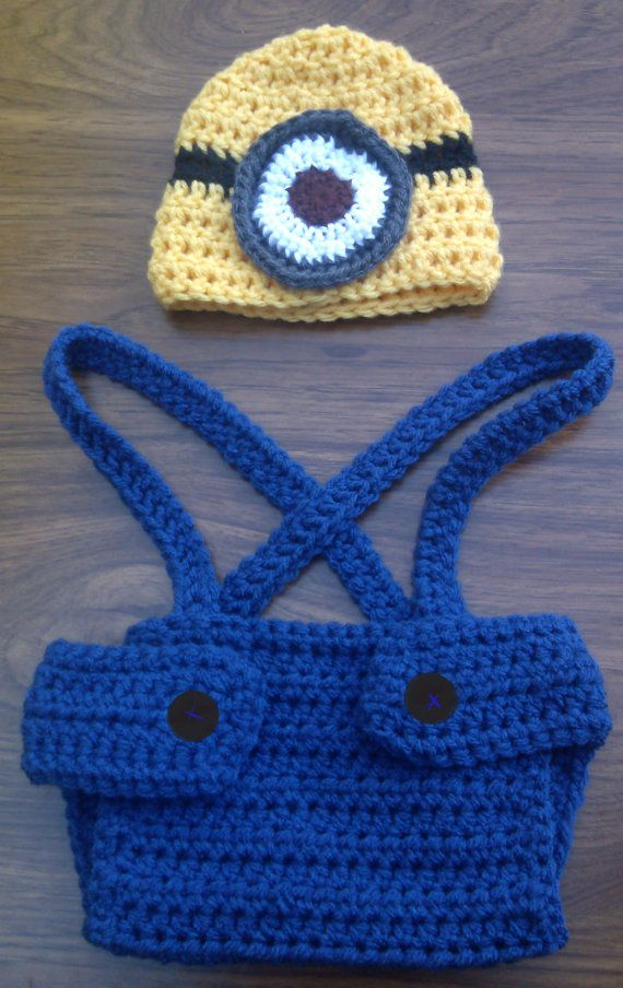 Crochet Patterns For Baby Overalls : Crochet Minion Hat and Diaper Cover Outfit by ...