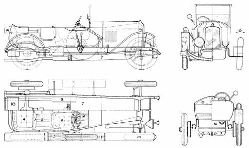 Blueprint of a 1924 Vauxhall like the one owned by Geoffrey Chandler.