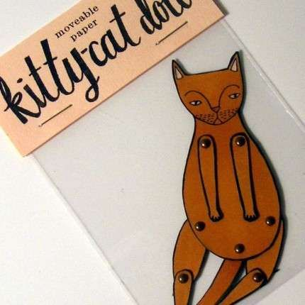 Moveable paper kitty-cat doll