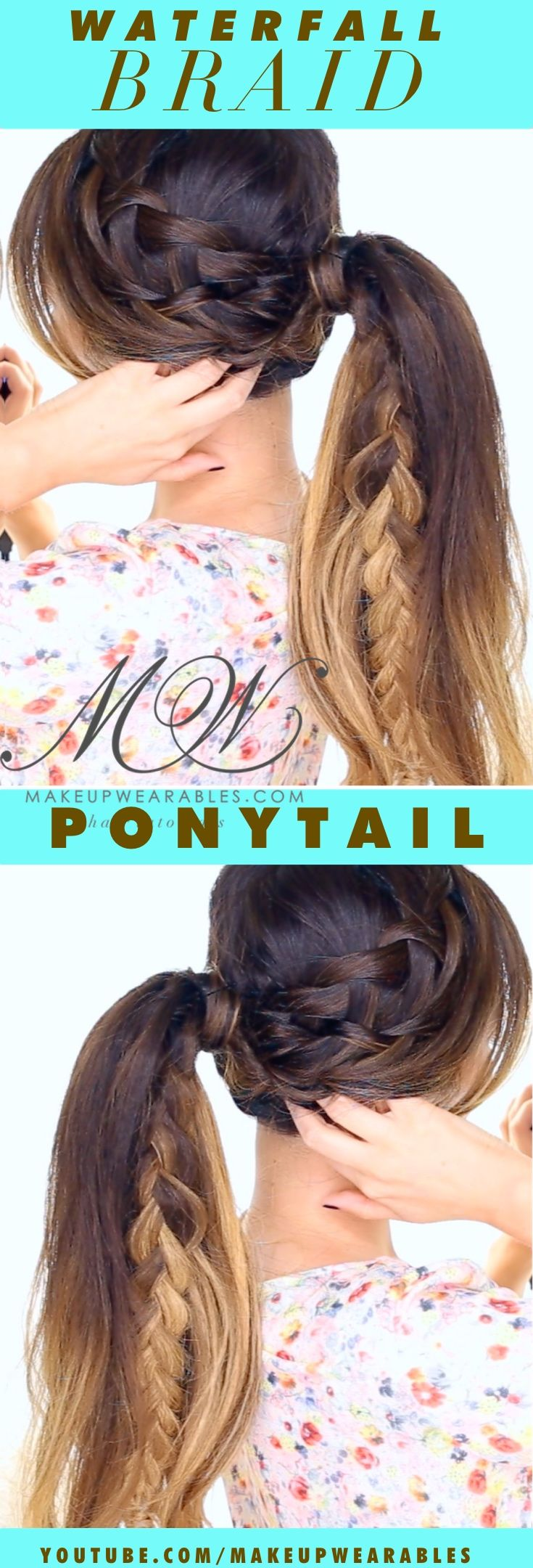 Double Waterfall Braid Ponytail Tutorial |  Click to watch the how-to video | Cute braided hairstyles