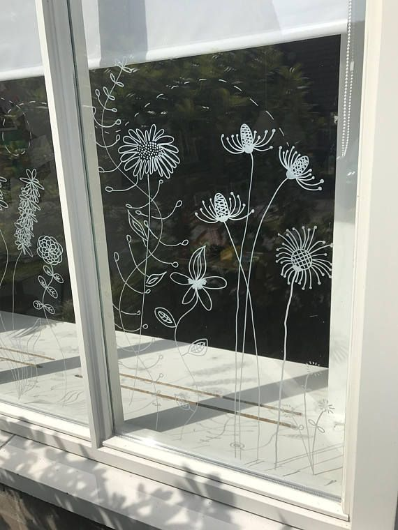 Botanical flowers window drawing – DIY Print for your window – Summer flowers – doodle flowers direct download
