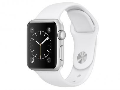 Apple Watch Series 1 38mm Alumínio 8GB Esportiva - Branca - R$ 2.199,90 em até 10x de R$ 219,99 sem juros no cartão de crédito  ou R$ 2.045,91 à vista (6% Desc. já calculado.) - Apple Watch Series 1. O original que você já conhece, ainda mais poderoso.  Acompanhe e compartilhe suas atividades, veja os detalhes dos seus treinos, monitore sua saúde e conecte-se às informações e pessoas que importam. Tudo isso ainda mais rápido, graças ao novo processador dual core e sistema operacional watchOS…