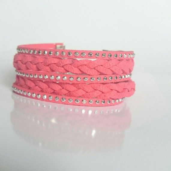 Hey, I found this really awesome Etsy listing at https://www.etsy.com/listing/274077140/coral-red-bracelet-faux-suede-leather