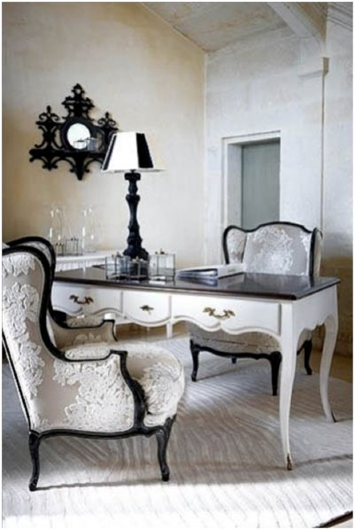 an office furnished with white french provincial furniture | French Provincial Bedside Black 1 Drawer .