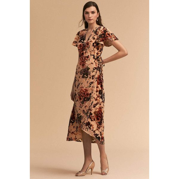 Anthropologie Thrive Wedding Guest Dress ($100) ❤ liked on Polyvore featuring dresses, neutral motif, floral velvet dress, wrap dress, ruffle dress, ruffle wrap dress and floral wrap dress