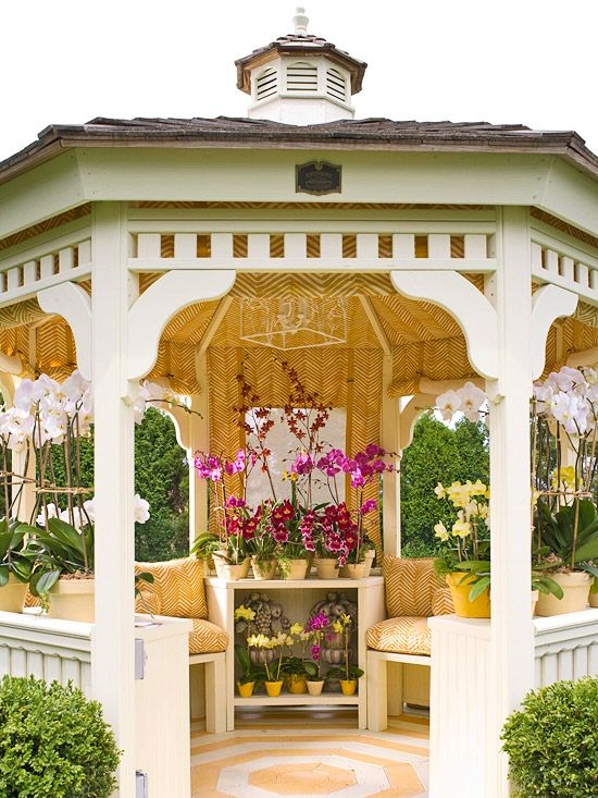 I love the sunny yellowness of this gazebo.