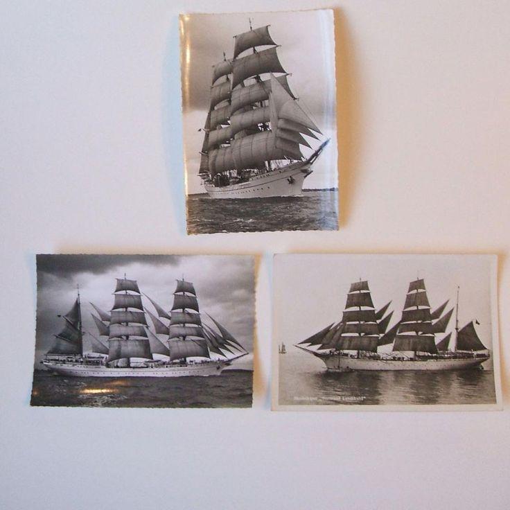 3 RPPC Real Photo Postcards Statsraad Lehmkuhl Sailing Ship Renard Kiel Unused