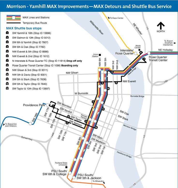 Trimet downtown shutdown/shuttle bus service map #transit