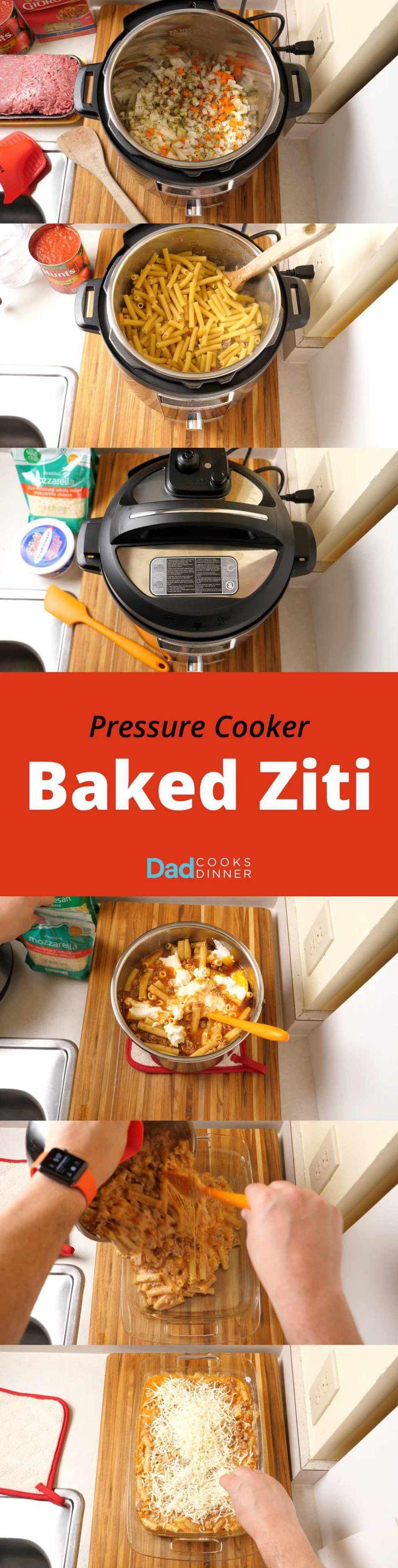 Pressure Cooker Baked Ziti - Step by Step Tower | DadCooksDinner.com