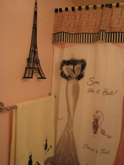 Girls Paris Theme Bathroom, these r from Bed Bath and Beyond...planning to do Paris themed bathroom for my girls love this shower curtain
