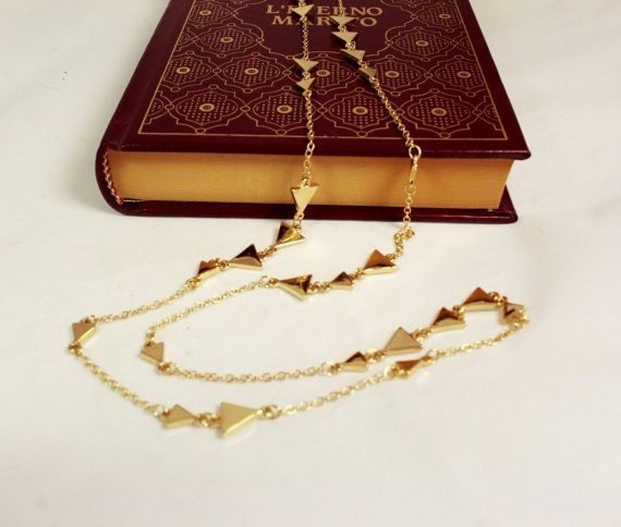 Gold triangle necklace Long necklace Gold necklace by NoaZen