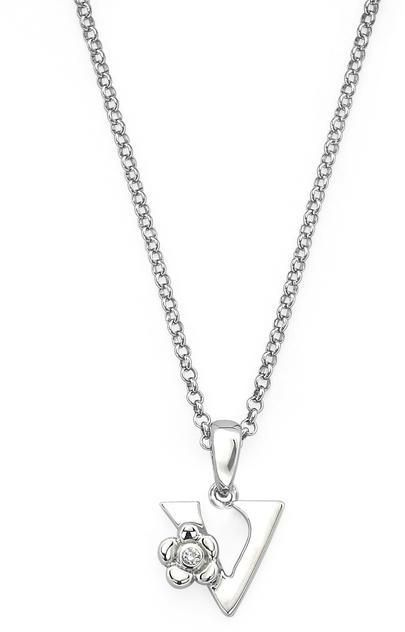 "Little Diva Diamonds Little Diva Silver Initial ""V"" Necklace with Diamond Accents for Children"