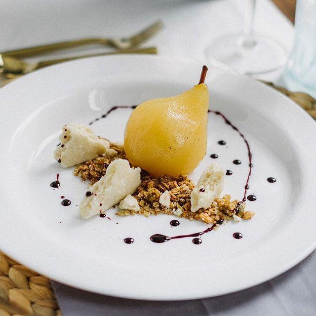 Reisling & Tahitian Vanilla Bean Poached Pear, Deconstructed Pie Crust, Oat & Nut Crumble