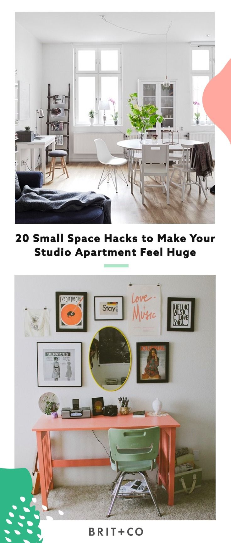20 small space hacks to make your studio apartment feel huge.
