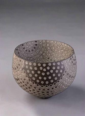 Kitamura Junko | Double-Walled Vessel -2005.  Stoneware, white slip.
