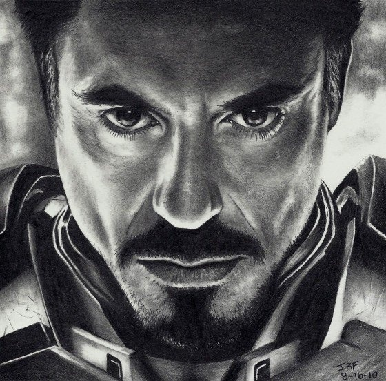 ♡♡ Robert Downey Jr. (Iron Man) drawn by Rick Fortson.