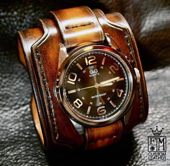 Leather Cuff Watch Sunburst