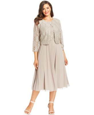 Jessica Howard Plus Size Sequin Lace Dress and Jacket