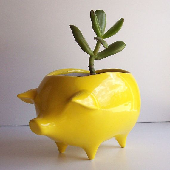 Ceramic Pig Planter Vintage Design in Lemon Yellow