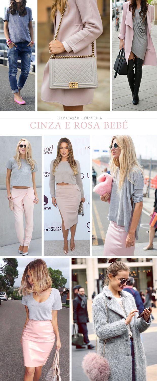 Moda: Cinza e rosa bebê