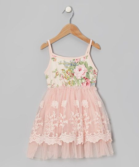 Designer Kidz Peach Floral Lace A-Line Dress - Infant, Toddler & Girls | zulily