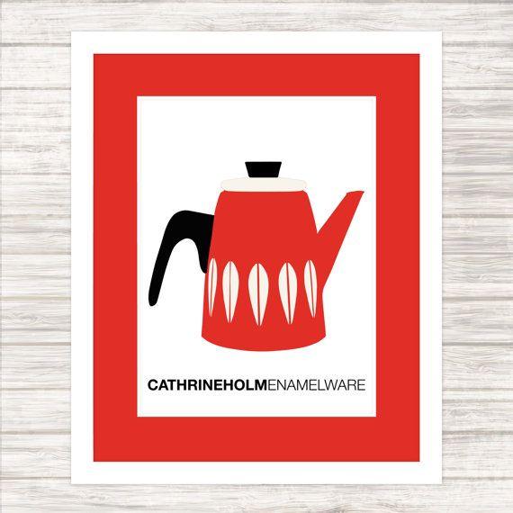 Scandinavian Enamelware  Cathrineholm Red Coffee by paper4download
