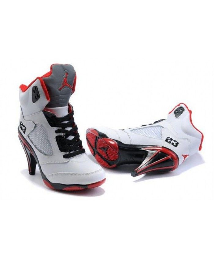 buy online fb8d7 50a91 Air Jordan 5 v Womens Heels Ankle Boots White Red