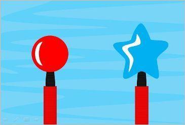 Φουσκώνω διαφορετικά μπαλόνια--Το παιχνίδι βοηθάει τους φίλους μας να κατανοήσουν τα διαφορετικά μεγέθη , σχήματα και χρώματα. Στην οθόνη κάνουμε κλικ στις τρόμπες και φουσκώνουμε μπαλόνια , μόλις σκάσει ή ξεφουσκώσει το ένα ξανακάνουμε κλικ για το επόμενο. Στο σύνολο παρουσιάζονται 6 σχήματα , κύκλος , οβάλ , αστέρι  τρίγωνο καρδιά και τετράγωνο.