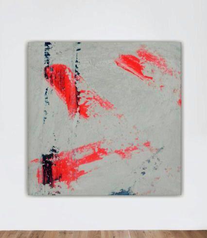 grote abstracte kunst zwart wit koraal blauwe door studioARTificial