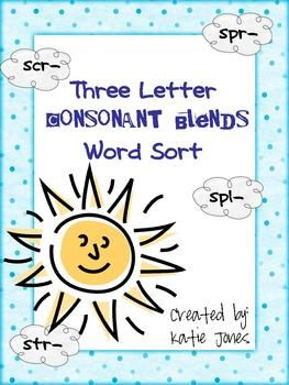 This activity is for students working on three letter consonant blends.  It comes with 16 word cards (with consonant blends: spl, scr, spr, and str...