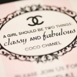 """Coco Chanel Bridal Shower invitation. """"A Girl Should Be Two Things: Classy and Fabulous!"""""""